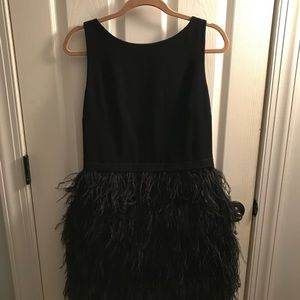 Little black dress with feather skirt